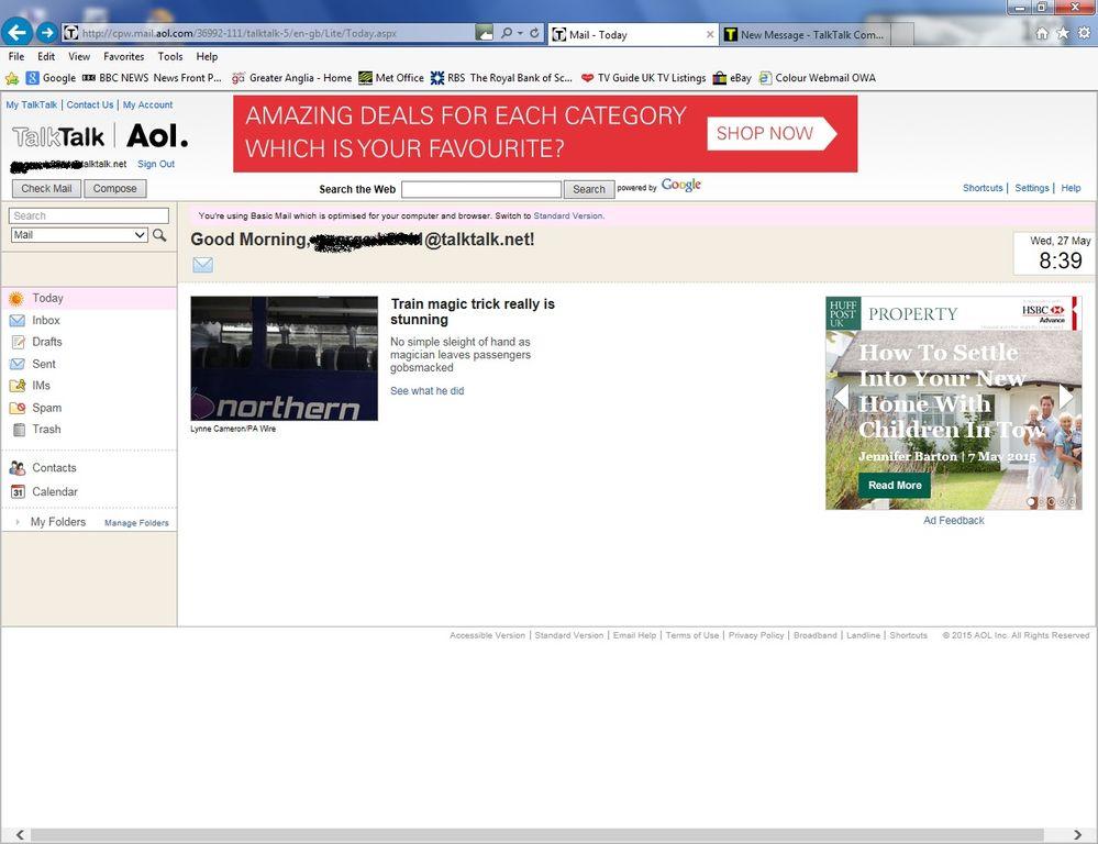 My Talktalk Webmail >> Login failure redirects to AOL mail system - TalkTalk Community
