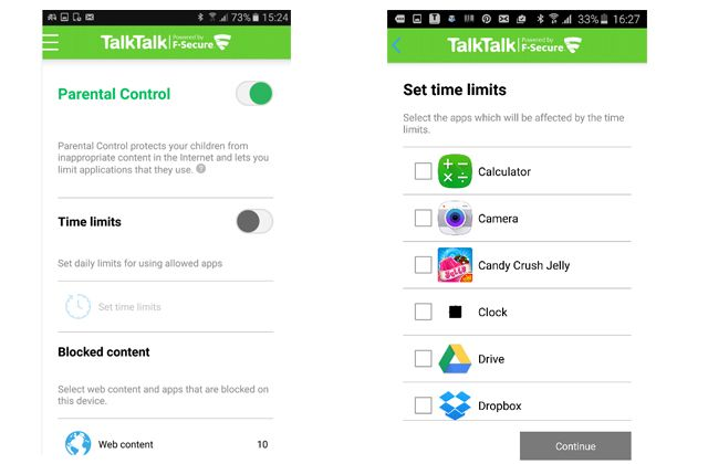 Parental Contols allows you to set Time Limits when your child can access the Internet. It will also set Time Limits to specific or All Apps on your child's device.