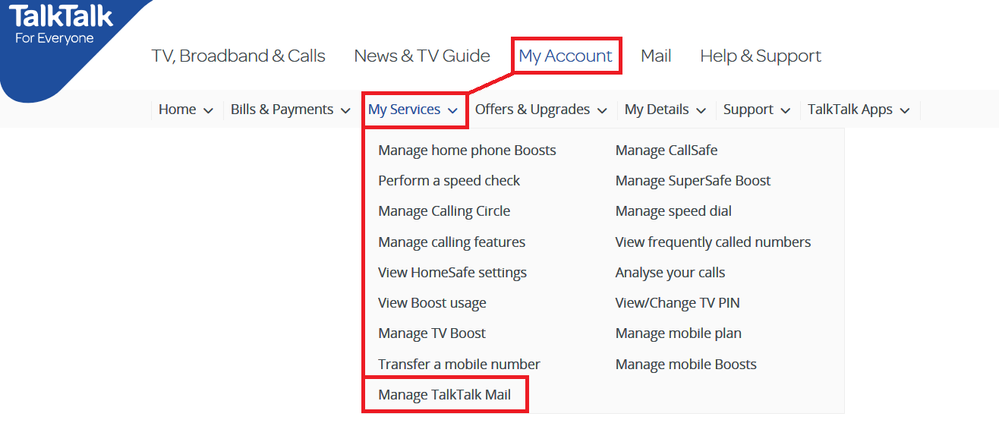 Manage TalkTalk Mail in MyAccount - My Services Menu.png