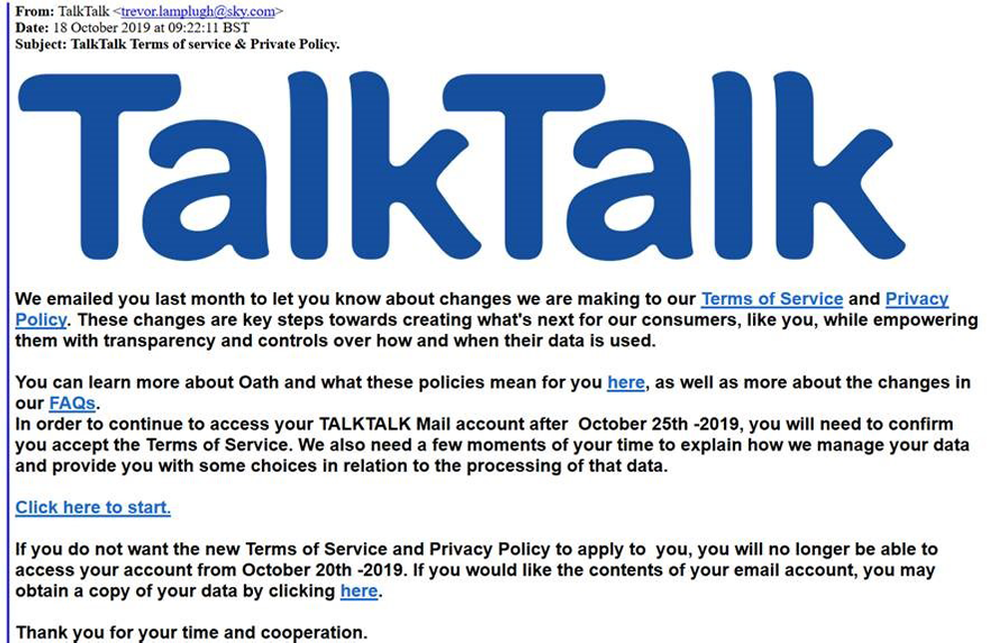 TalkTalk Terms of service & Private Policy