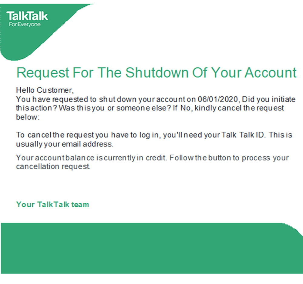 Request For The Shutdown Of Your Account