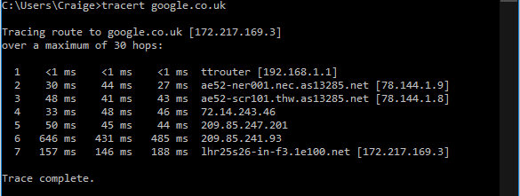Traceroute (Evening)