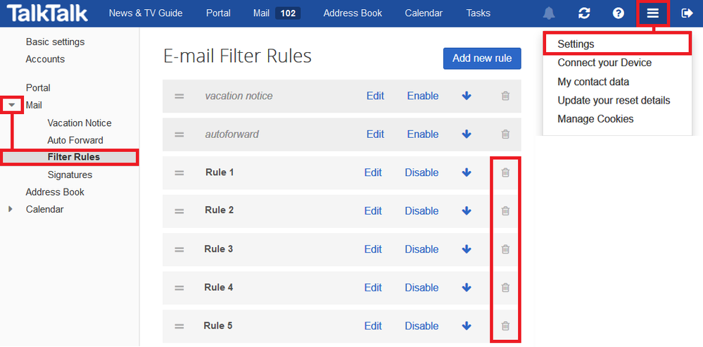 Filter rules - Delete