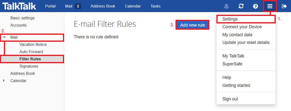 Filter Rules - Add new rule
