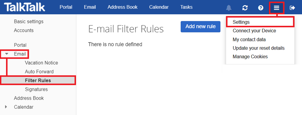 Filter rules - There is no rule defined