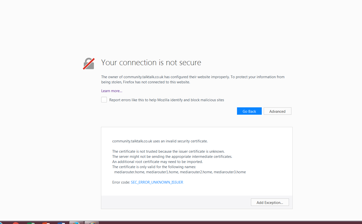 how to fix connection is not secure
