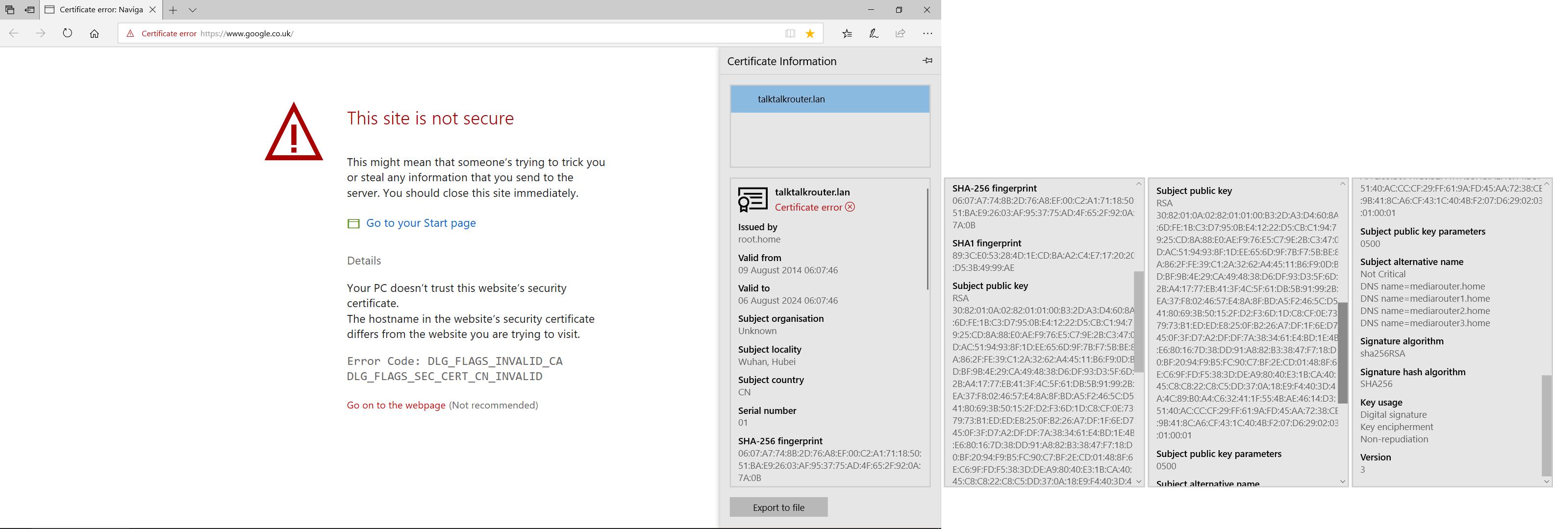 This Site Is Not Secure Talktalkroutern Certi Talktalk