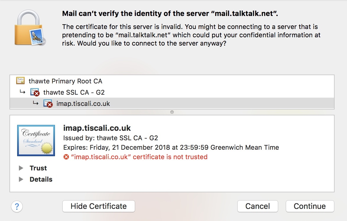 Your Email Certificate Is Invalid Talktalk Community