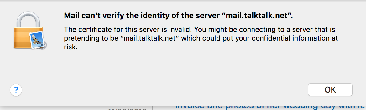 Solved: No Mail, Certificate Invalid - TalkTalk Community