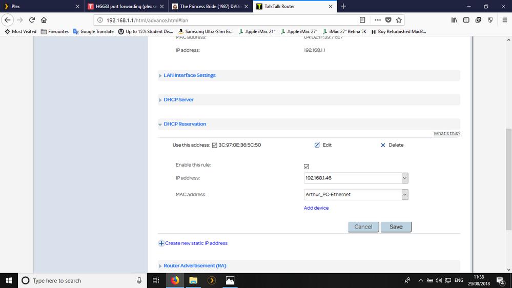 HG633 port forwarding (plex server) - TalkTalk Help & Support