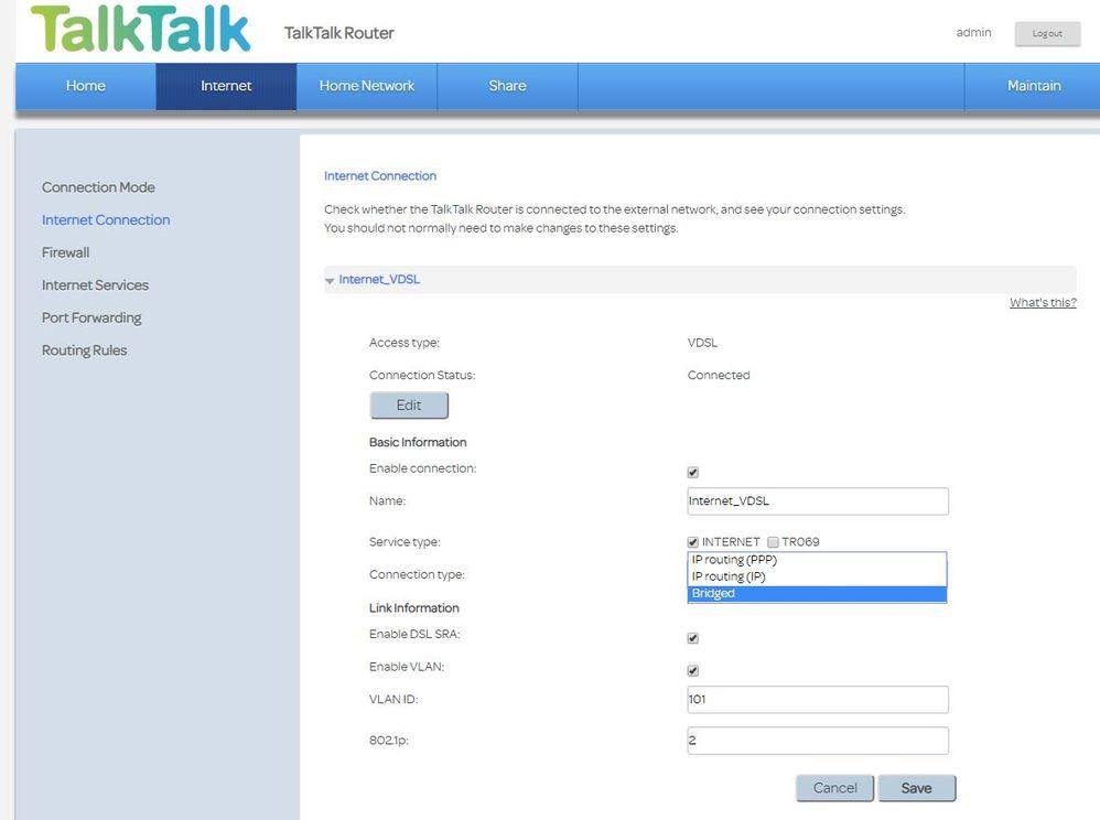bridge mode working on HG633 - TalkTalk Help & Support