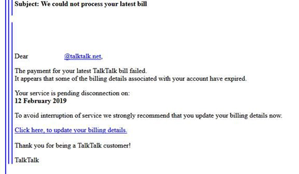 We could not process your latest TalkTalk bill