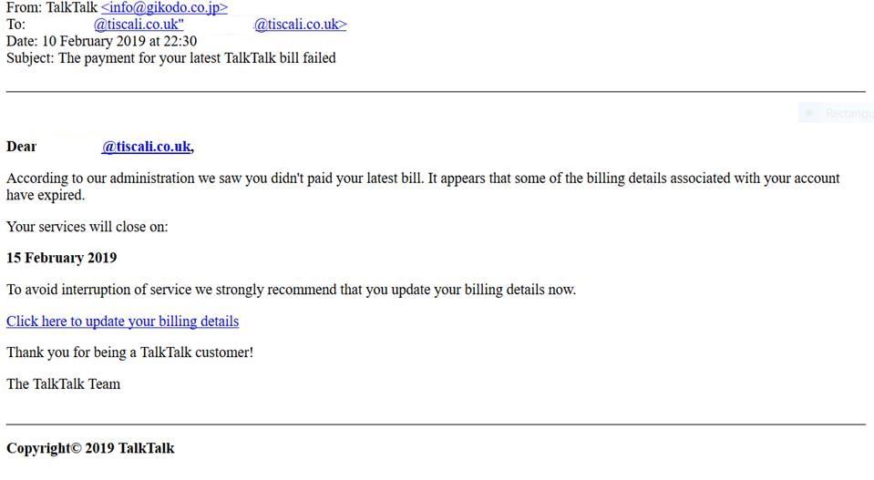 The payment for your latest TalkTalk bill failed