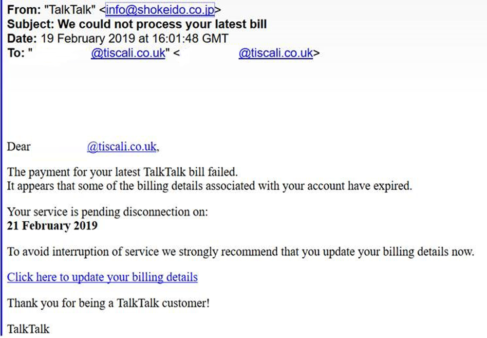 We could not process your latest bill