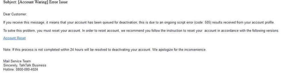 Account Warning