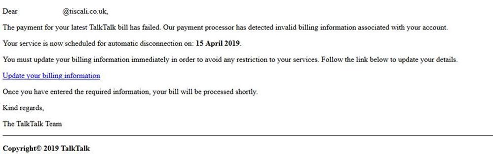 The payment for your latest TalkTalk bill has failed