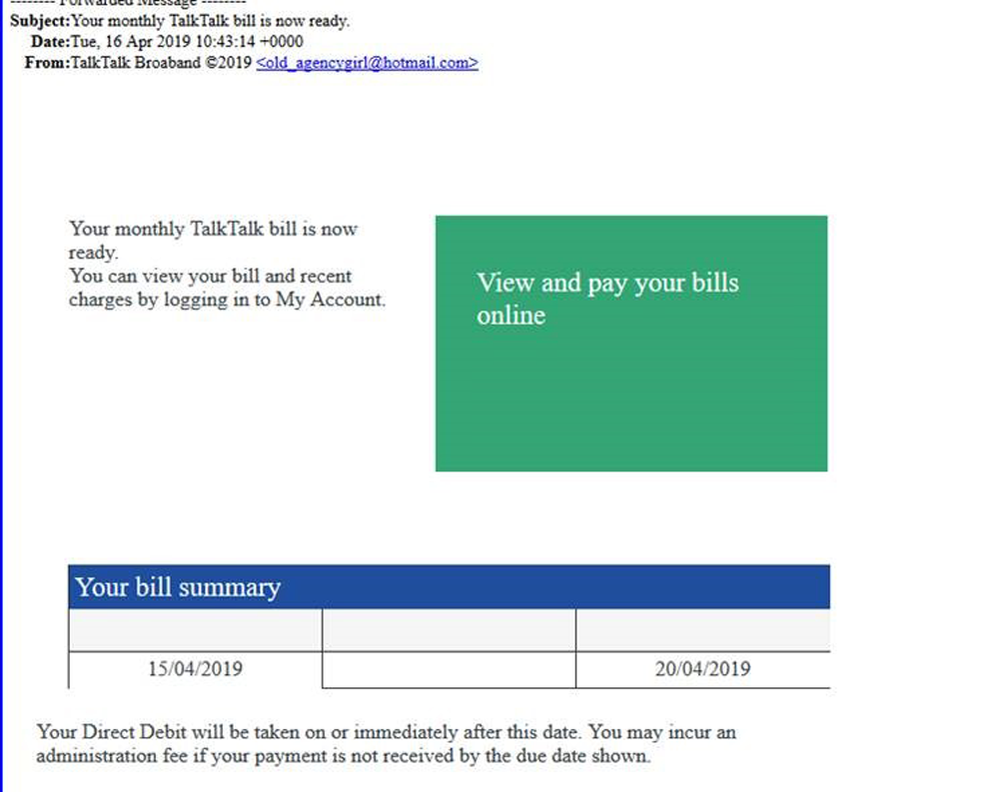 Your monthly TalkTalk bill is now ready