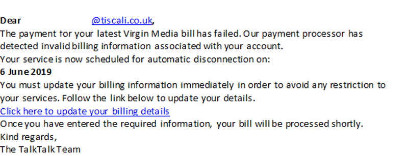 The payment for your latest Virgin Media bill has failed