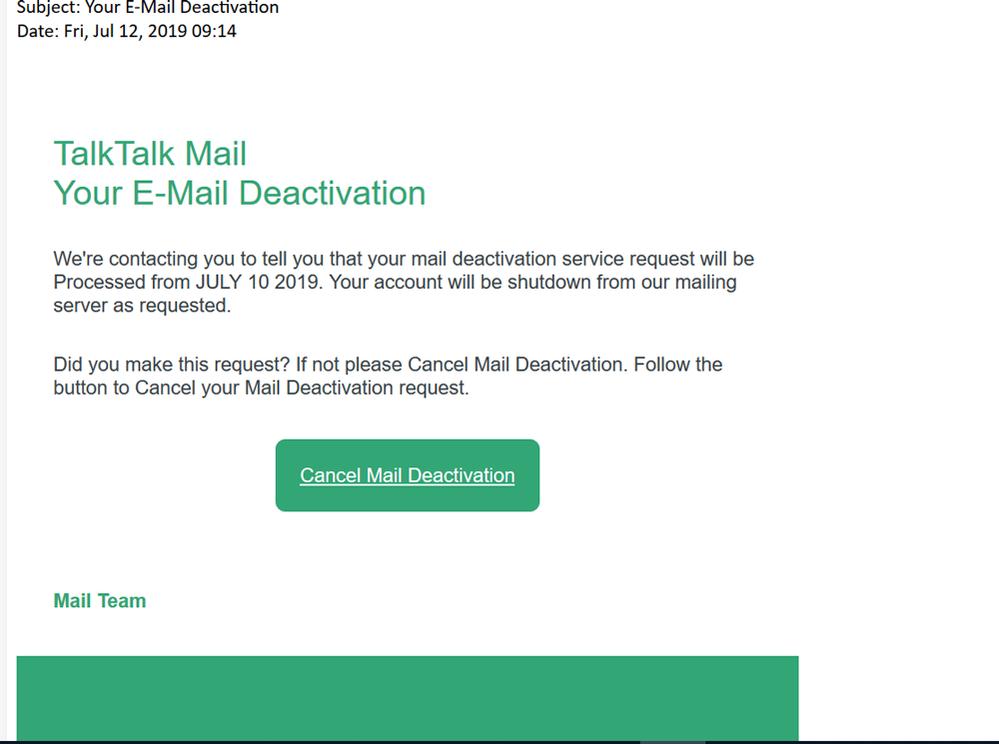 Your E-mail Deactivation