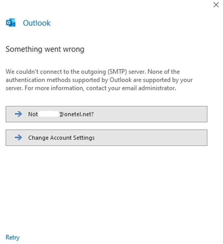 Unable to send Ontel net emails using Outlook 2016    - TalkTalk